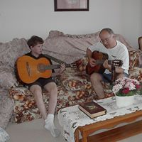 Matthew and I with guitars